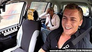 Czech yellowish hair Rides Taxi Driver in the Backseat