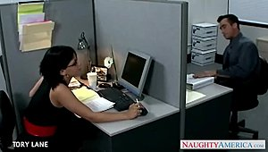 Dark-haired office date Tory Lane banging